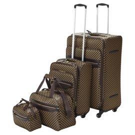 Tesco 4-Wheel Check 4pc Luggage Set Down from £80.00 to £40.00 @ Tesco