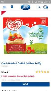 Cow & Gate fruit pots £1.50 from Boots