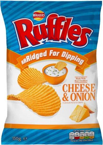 Walkers Ruffles Ridged Crisps - Original / Cheese & Onion / Ridged Paprika Crisps (150g) was £1.98 now £1.00 @ Asda