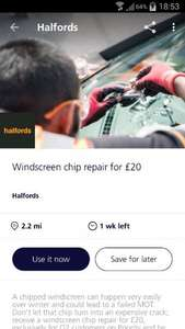 Windscreen chip repair £20 at Halfords for o2 priority customers