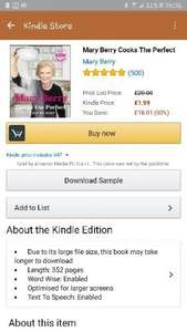 Mary Berry kindle Cook. book - £1.99 @ Amazon