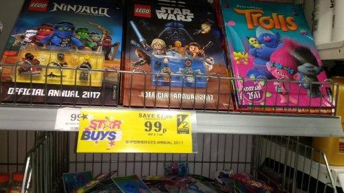 Lego star wars/ Lego Ninjago/ Marvel superhero and Trolls 2017 annuals just 99p in home bargains