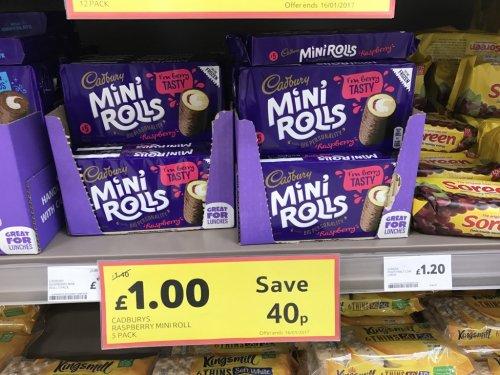 Cadbury Raspberry Mini Roll - 5 Pack - £1 @ Tesco - instore / online