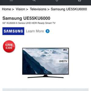 Samsung. 4K. 55 inch use codeCelebrate the New Year with an additional £40.34 discount £508.66 @ Hughes