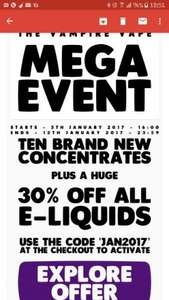 30% Off Eliquids and Hardware sale @ Vampire Vape