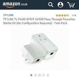 TP-LINK TL-PA4016PKIT AV500 Pass-Through Powerline Starter Kit (No Configuration Required) - Twin Pack £20.29 @ Amazon