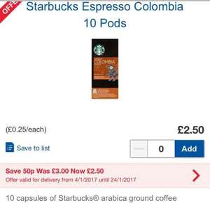 Starbucks Nespresso 10 pods was £3.00 now £2.50 at Tescos