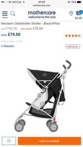 Maclaren Globetrotter Stroller - Black/White Only £75 at mothercare