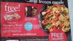 Buy any three slimming world meals get 1x6 pack bakewell tart muller yogurts free at Iceland