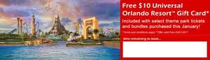 Free $10 Universal gift card per person when you buy Universal tickets for orlando