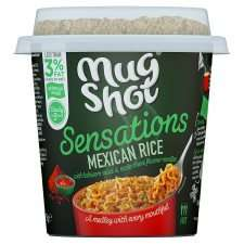 Mug Shot Sensations Mexican or Tandoori Rice reduced from £1.49 to £0.50 at Tesco and Asda