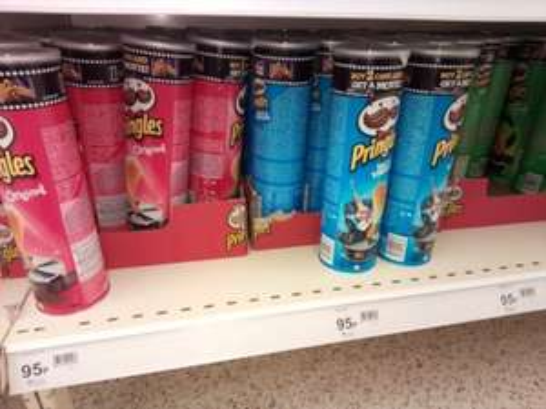 Pringles. 190g tins. 95p Four flavours @ Wilko