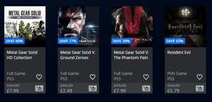 PSN Jan Sale - Cheap PS3 Game Deals: MGSV Ground Zeroes + The Phantom Pain (£2.49/£7.99) Resident Evil 4 (£4.99) Ico & Shadow of The Collossus HD (£5.79)