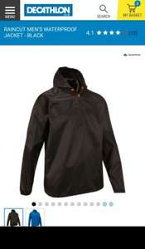Raincut Men's Waterproof Jacket - Black - £5.99 C+C @ Decathlon (C+C also from an Asda Store)