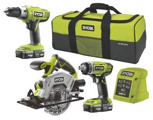 Ryobi One+ Cordless Piece 3 Piece Kit R18CK3B-LL13S £143.50 using code stack! @ B&Q