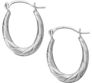 9ct White Gold Oval Creole Earrings £13.99 @ Argos