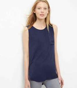 Navy Sateen CNew look trast Single Pocket Sleeveless Top £1 was £12.99 @ New look