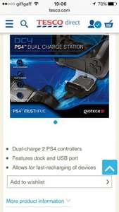 DC4 DUAL CHARGE STATION by gioteck (PS4) @ Tesco £3.99, free c&c