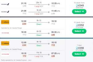 London to Toronto Canada via Skyscanner  Return flight