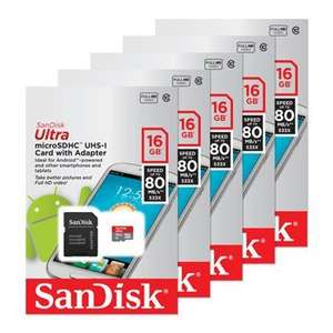 Pack of 5 16GB Sandisk Ultra Micro SDHC Cards Class 10 £17.51 if collecting from Scan.co.uk in bolton or £21.51 with postage
