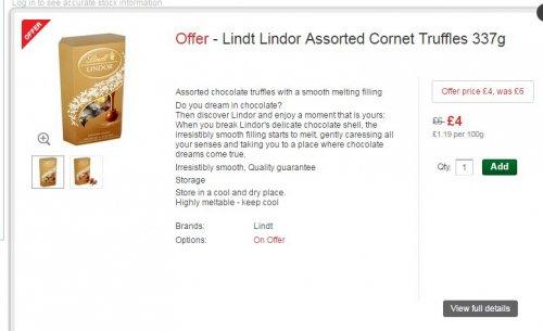 Lindt Lindor chocolates reduced in Morrisons - £4