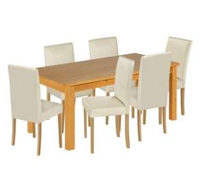 HOME Lanark Dining Table and 6 Chairs - Solid Pine/Cream £147.19 delivered at Argos