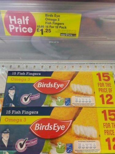 Birds Eye Fish Fingers (Omega 3) 15 for 12 Pack £1.25 @ Iceland