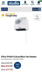 Pifco P44014 Downflow Fan Heater £12.99 @ Studio (Free Del New Customers with code  / + £4.99 P&P)