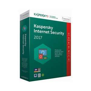 Kapersky Internet security 2017 (3 devices 1yr subscription) reduced £12.98 + £2.98 delivery Ebuyer