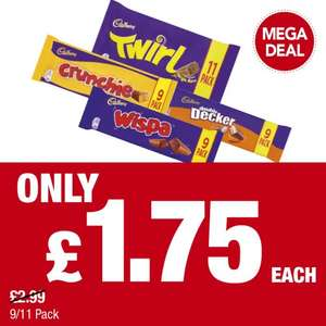 Cadbury Crunchie  9pk  / Twirl  11pk / Wispa  9pk / Double Decker 9pk  was £2.99 now £1.75 @ Premier stores
