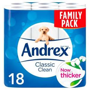 Andrex 18 Rolls Classic Clean and Gentle Clean £6 @ Morrisons were £7.96