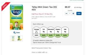 Tetley Green tea 57p @ Tesco