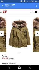 H&M parka was £49.99 now £18.74 with free next day delivery