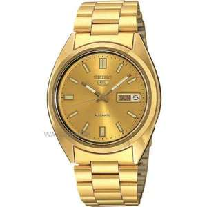Seiko 5 Men's Automatic Watch (PVD Gold plated) £86 Use code WSSALE10 to reduce to £77.40 @ Watch Shop