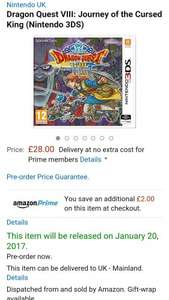 Dragon Quest VIII 3ds £28 @ amazon prime