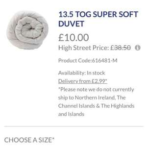 posh duvets and pillows going cheap £10 @ Boston Duvet & Pillow