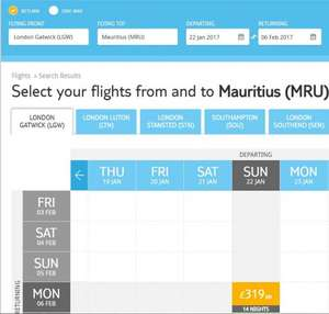 Flight only - Gatwick Direct to Mauritius 22 Jan to 6 Feb £319 per person