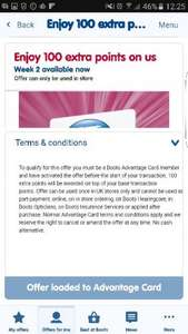 Extra 100 points for Boots advantage card holders (no minimum spend)