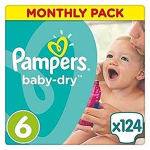 Pampers Baby-Dry Nappies Monthly Saving Pack - Size 6, Pack of 124 £13.48 or with S&S