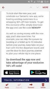 50% off tp express bookings for existing customers
