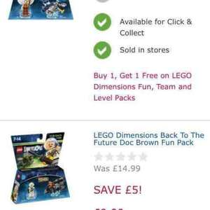 lego dimensions fun packs BOGOF £9.99 @ Toys R Us