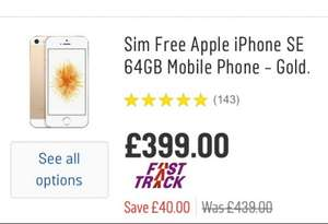 Sim Free Apple iPhone SE 64GB Mobile Phone £399 Argos reduced from 439