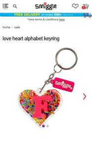 Smiggle Love Heart Alphabet Keyring was £4.50 now £2 +£4.50 delivery.