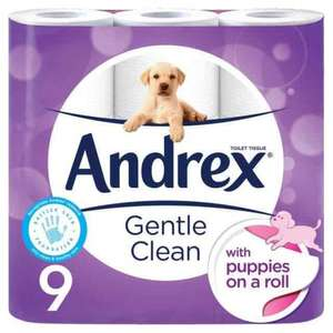 Andrex Gentle Clean Toilet Tissue 9 per pack. Now £3.50 Ocado. Was £4.49.