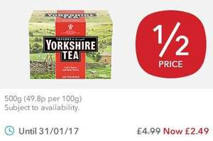 Yorkshire tea bags 160's. Half price at the Co-op. was £5 now £2.49