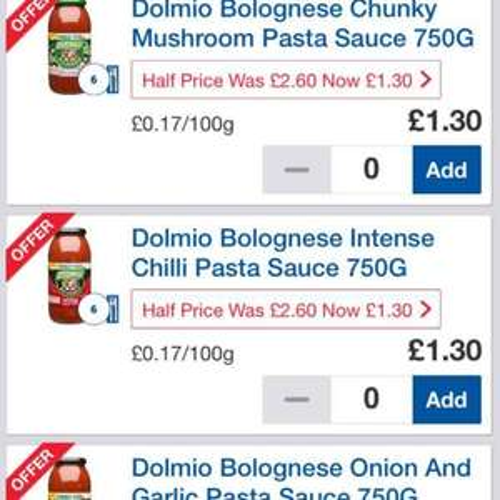Dolmio 750g family size bottle pasta sauce was £2.60 now £1.30 @ tesco