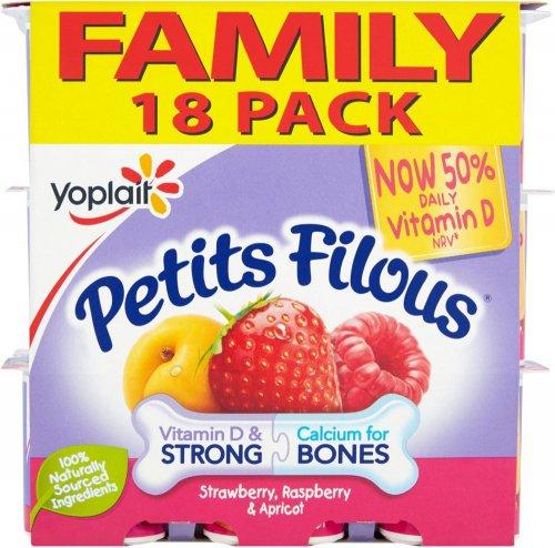 Petits Filous Fromage Frais - Strawberry Raspberry & Apricot (18 x 47g) ONLY £2.00 @ Asda