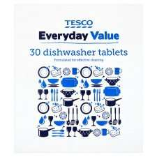Tesco Everyday Value Dishwasher Tabs 30'S just £1.60 5p a tablet