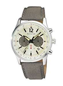 Accurist Men's Quartz Watch with White Dial Chronograph Display and Beige Nylon Strap Amazon