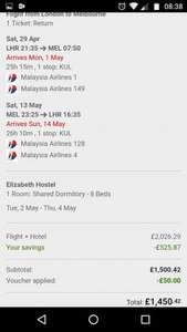 Business Class Flights to Australia with Malaysian Airlines with Ebookers from £1450.52